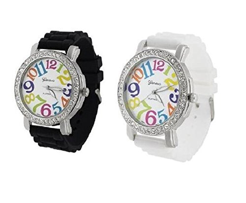 2 Pack White and Black Geneva Women's Large Round Face Silicone Rainbow Numbers Watch (White Geneva Watches For Men)