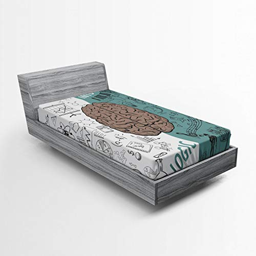 Ambesonne Modern Fitted Sheet, Brain Image with Left and Right Side Music Logic Artwork Side Science Print, Bed Cover with All-Round Elastic Deep Pocket for Comfort, Twin XL Size, White Teal Umber