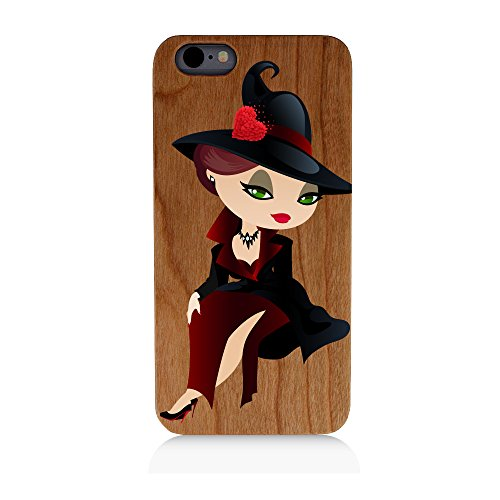 [Witch Costume Halloween Heart Uv Print Cherry Wood Natural Wooden Case iPhone SE] (Cherry Apple Costumes)