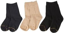 Gold Toe Boy\'s 8-20 Wide Rib Crew Socks (3 Pair), Navy/Khaki/Black, Medium