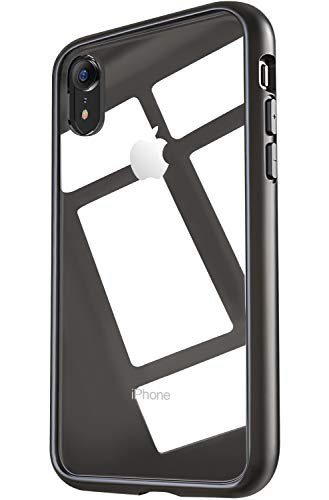 OCYCLONE TGViS iPhone XR Case,Slim Clear Thin Tempered GlassHybrid TPU Drop Protective Case Cover for iPhone XR (2018) - Matte Black