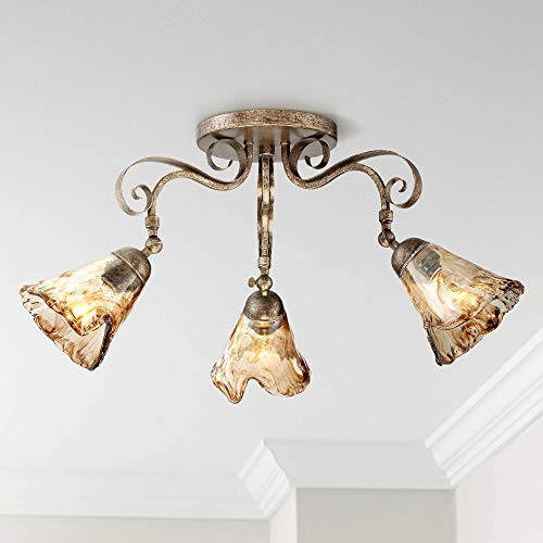 - Organic Amber Glass 3-Light Ceiling Track Fixture - Pro Track