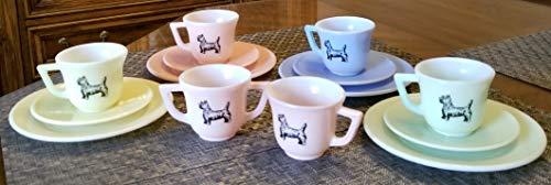 Akro Agate Pastel Glass Set w/Scottie Scotty Dogs - Plates Cups Saucers Creamer & Sugar