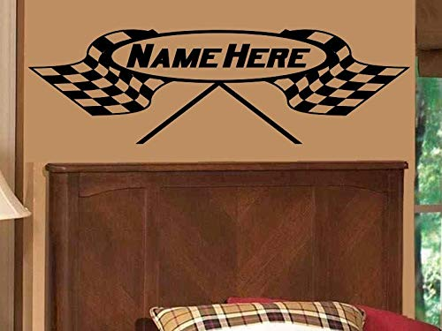 Tiukiu Checkered Flag Decal Personalized Crossed Racing Flags Wall Sticker Nursery Decorations Boys Bedroom Man Cave Race Theme Decor Bed Room Medium Size