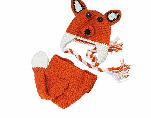 M&G House Newborn Baby Photography Props Handmade Crochet Knitted Cute Fox Set Cap Outfit
