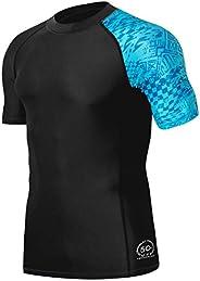 HUGE SPORTS Men's Splice UV Sun Protection UPF 50+ Skins Rash Guard Short Sle