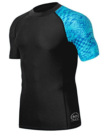 HUGE SPORTS Men's Splice UV Sun Protection UPF 50+ Skins Rash Guard Short Sleeves(Blue Pictogram, XL)