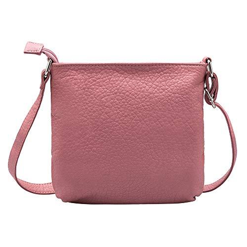 bolsillo para bolso delantero la del Bolso de suave rosa de las mujeres oscuro de Crossbody hombro GLITZALL PU wPFO0qp