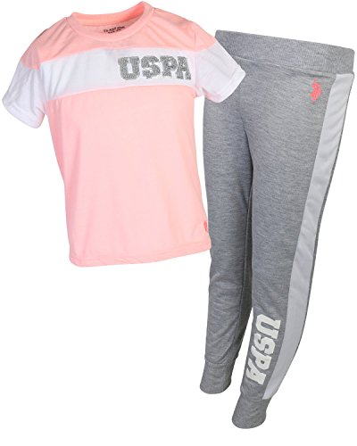U.S. Polo Assn. Girl's 2-Piece Athleisure Jogger Set, Apricot, Size 4