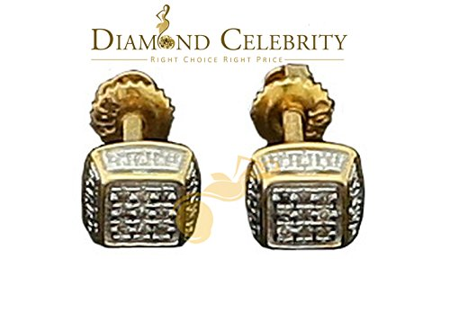 Real 10K Yellow Gold Square Stud 8.89mm Ladies Earrings Real 0.05CT Diamonds (Diamond Ct Real 0.05)