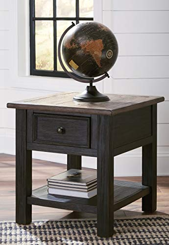 Ashley Furniture Signature Design - Tyler Creek End Table with Drawer, Grayish Brown/Black (Black End Table Drawer)