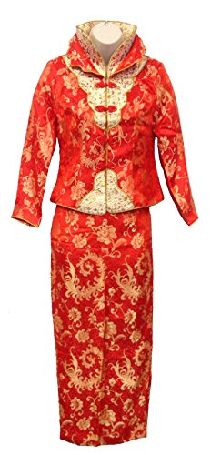 Elegant Silk Brocade Emrboidery Qun Kwa QíPáo Dress 群褂 (Long Sleeve, Small)