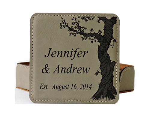 Personalized Leather Coasters for Wedding Anniversary Gift