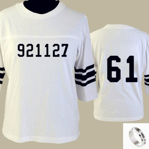 EXO Kpop Overdse football T shirt short sleeve shirt + EXO member titanium birthday Ring/necklace (chanyeol, S)
