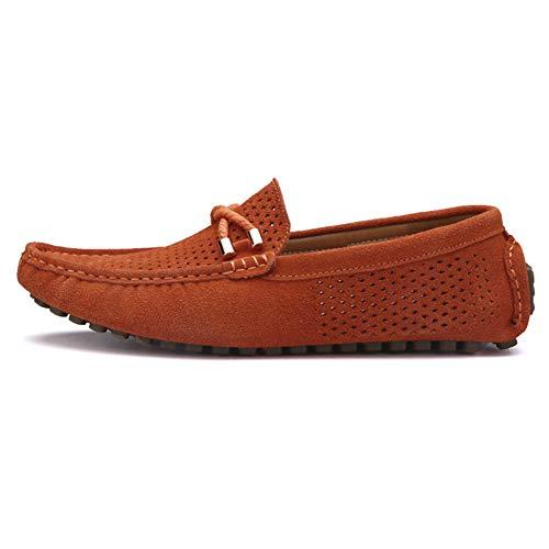 Hombres YAER Mocasines Clásico Conducción de de Naranja 1 Gamuza Zapatos Pq1qdU