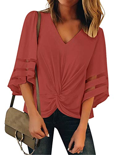 Vetinee Women's Tea Rose Ruched Twist Tops 3/4 Bell Sleeve Shirt Mesh Panel V Neck Casual Loose Blouse Small (US 4-6)