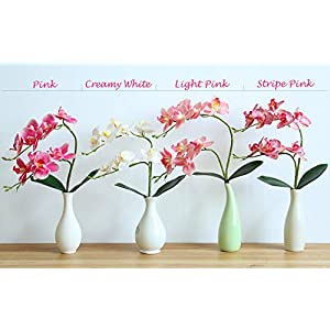 "cn-Knight Artificial Flower 3pcs 18"" Real Touch Butterfly Orchid with Leaves Gel Coated Lifelike Phalaenopsis Moth Orchid for Wedding Home Office Décor Baby Shower Party Centerpieces(Pink) 5"