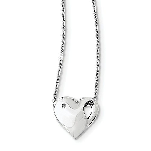 "Solid 925 Sterling Silver .01ct. Diamond Heart Necklace Chain 18"" - with Secure Lobster Lock Clasp (1mm)"