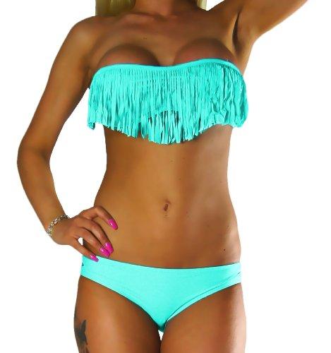 Bikini Femme De Maillot Courtes small Bandeau X 10209 Avec Franges Turquoise Haut Bain Alzora xRgI5dqngw