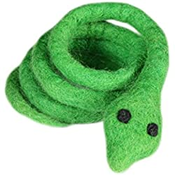 RC Pet Toys Wooly Wonkz Safari Toy, 100% New Zealand Wool, Fun Interactive Cat and Small Dog Toy, Snake Green