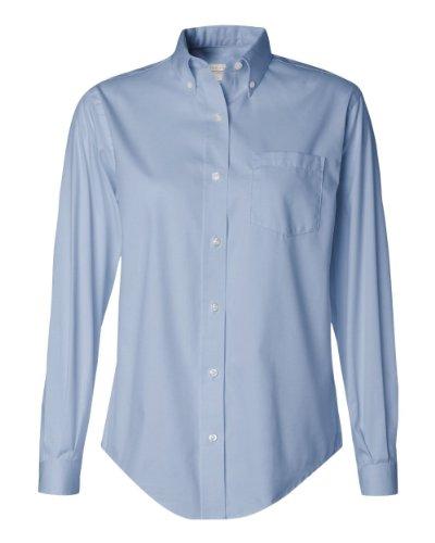 Van Heusen Women's Long-Sleeve Pinpoint Oxford Shirt, Blue, Large