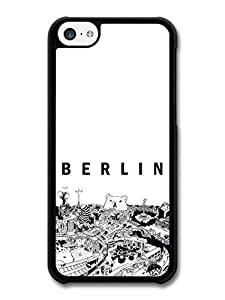 MMZ DIY PHONE CASECool Black and White Berlin City with Bear Illustrated Poster case for ipod touch 5