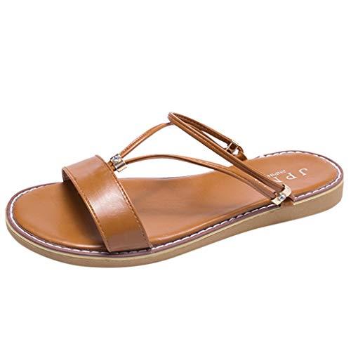 YKARITIANNA Women's Fashion Casual Open Toe Slides Flat Sandals Beach Shoes Outdoor Slippers 2019 Summer New Brown (Best 5 Pin Bow Sight 2019)