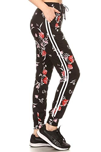 - Super Soft Womens Joggers Sweatpants with Pockets & Side Stripes Floral Print Black/Red Large