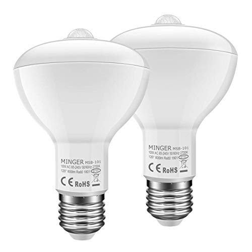 MINGER 10W PIR Motion Sensor BR30 LED Bulb, 60W Equivalent Motion Sensor Flood Light Bulb, 900 Lumens Soft White 2700K, E27 Base, 120°Beam Angle Spotlight, 2 Pack