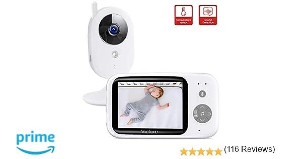 Victure Vigilabebés Inalambrico con cámara, Monitor para Bebés Digital Compatible con Infrarrojos Sala de Visión Nocturna Audio, Charla bidireccional, ...