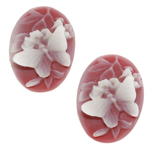Beadaholique Vintage Style Lucite Oval Cameo Red With White Butterfly 25x18mm (2) -