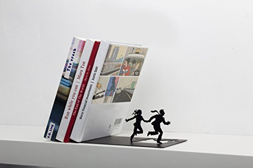 """Runaway Bookend"" - Falling Books on a Running Couple - Black Metal Bookend - Gifts for Couples, Romantic Gift"