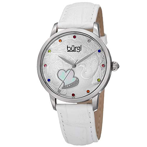 Burgi Women's BUR149WT Silver Quartz Watch With Swarovski Crystal Accented Dial and White Embossed Leather Strap - Embossed Dial Watch