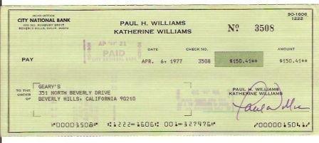Paul Williams Signed Original Check