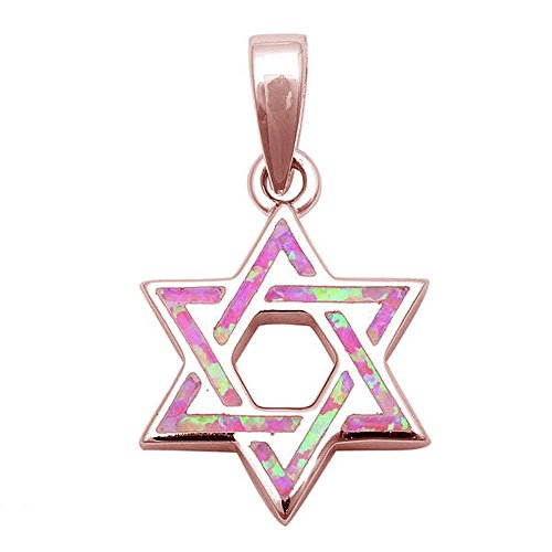 Oxford Diamond Co Lab Created Opal Star of David .925 Sterling Silver Pendant Charm Colors Available (Rose gold Plated Sterling silver Pink Opal) (Lab Star Created Silver)
