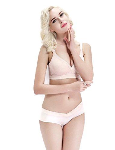 Bravado Maternity Panties (Maternity nursing bra+underwear Lace Breastfeeding bra for Pregnant women Pregnancy Underwear Clothes Panties Bra sets (B34, Nude))
