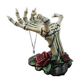 Gothic Display (Spooky Skeleton Hands Jewelry Stand with Tray Display Rack and Red Roses or Decorative Key Holder Statue for Scary Halloween Decorations or Gothic Décor As Gifts for Women)