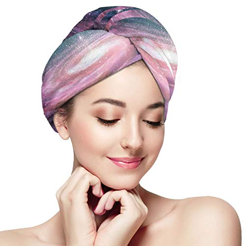 Quick Dry Hair Wrap Towels Turban,Spiral Galaxy In Outer Space Andromeda Nebula Star Dust Universe Astronomy Print,Absorbent Shower Cap (Pub At The End Of The Universe)