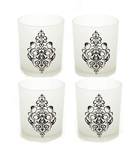 Frosted Holder Glass Tealight (Hosley Set of 4 Glass Frosted White Tealight Holder with Scroll Design - 4