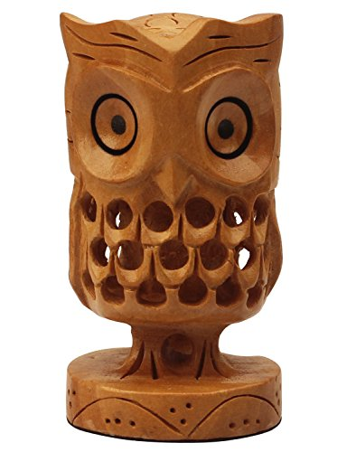 SouvNear Funny Cute Lucky Owl Statue / Figurine / Hand-Carved Wooden Sculpture in Light Brown 3.2