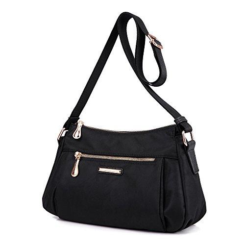 Sumcoa Nylon Crossboby Purse Bag Shoulder Messenger Bag with Multi-Pocket (B (Multi Compartment Shoulder Tote)