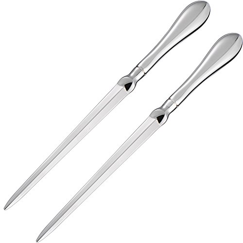 TecUnite 2 Pack Letter Opener Envelope Opener Knife Metal Letter Opening Knife, 9 Inches, Silvery