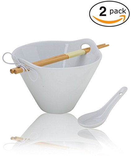 (2-Pack) Porcelain Noodle Soup Bowl with Bamboo Chopsticks and Ceramic Spoon (20 oz Bowl)- Perfect Bowls for Ramen Soup Noodles Cereal Pho Popcorn Oatmeal - Dishwasher Microwave Safe (Handled Soup Mugs Set)