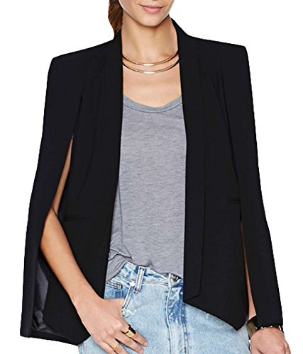 [Summerwhisper Women's Solid Open Front Cape Blazer Shawl Charming Black X-Large] (Black And White Cape)