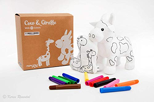 - Painting Kit for KIDS Cow And Giraffe Stuffed Animal, kid's Painting Toy DIY washable, With 12 FREE Markers