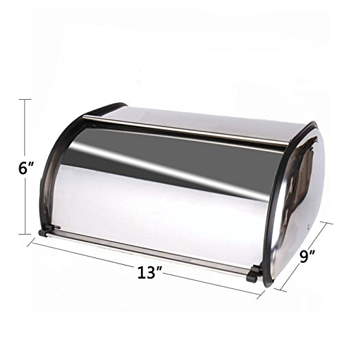 Hot Sale X459Ss Stainless Steel Bread Box/Bin/kitchen Storage Containers/Home Gifts with Coasters and Roll Top (Roll Top Lid)