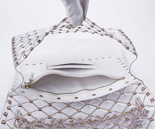 Carré White à Sac Sac Rhombique Petit Diagonale Chaîne Main De Femme Sac Rivet Transparent Sac Gelée Sac TfwTxqZa