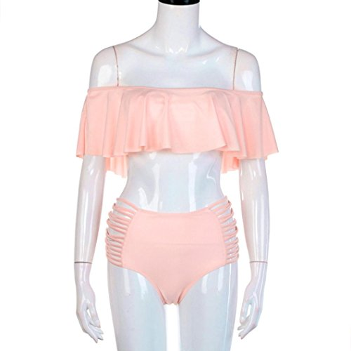 Goodsatar Mujer Verano Conjunto de Bikini Bandage Push-up acolchado Bra Traje de bañ 2 Pieza(Multi Color Disponible) Rosado