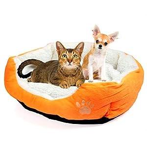 Unicoco Perrera, Encantador Forma Redonda u Ovalada Hoyuelo Suave Cachemir Nido de Mascota Perro Cama de Gato Tamaño Grande Naranja