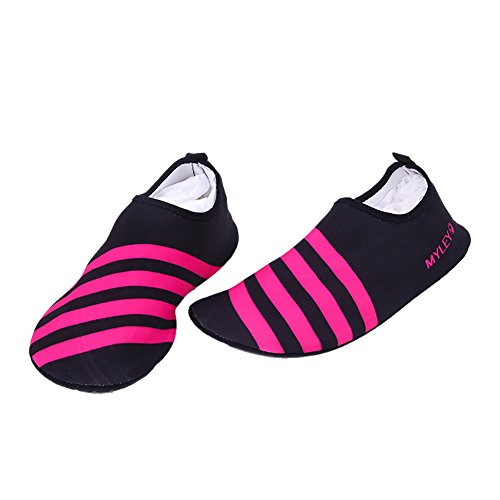 Moresave Schwimmschuhe Unisex Nasse Schuhe Strand Sportschuhe Aqua Barfuß Wasser Schuhe Rosa Streifen